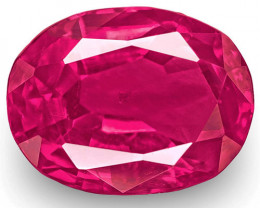 IGI Certified Burma Ruby, 1.69 Carats, Vivid Pink Red Oval