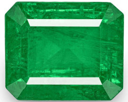 Zambia Emerald, 8.86 Carats, Fiery Vivid Green Emerald Cut