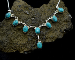 TURQUOISE NECKLACE NATURAL GEM 925 STERLING SILVER JN4