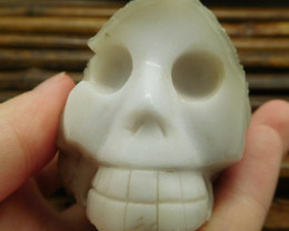 White jade carved skull craft animal craft decoration (G1028)