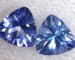 0.90 CTS  TANZANITE  FACETED PARCEL  (2 PCS)PG-2849