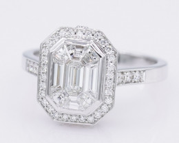HUGE F VVS EMERALD CUT SOLITAIRE 18K WHITE GOLD INVISIBLE SET RING