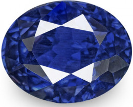 IGI Certified Madagascar Blue Sapphire, 1.73 Carats, Deep Royal Blue Oval