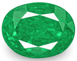 Zambia Emerald, 3.90 Carats, Fiery Rich Green Oval