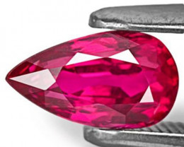 Mozambique Ruby, 1.02 Carats, Fiery Neon Red Pear