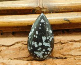 Snow flake obsidian cabochon bead (G1034)