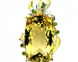 Huge Citrine Brooch Pendant 14kt Gold over Sterling Silver 150.00cts