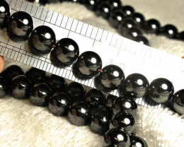 929.0 Ct. 12mm 18 inches Strongly Magnetic Hematite - Gorgeous