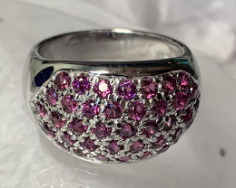A fine pink Rhodolite Garnet Ring beautiful gems size 9