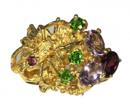 The Garden' Amethyst Diopside Garnet Gold and Silver Ring Size 7.5 Gorgeous