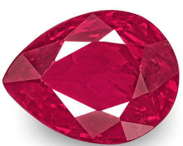 IGI Certified Burma Ruby, 1.04 Carats, Deep Pinkish Red Pear
