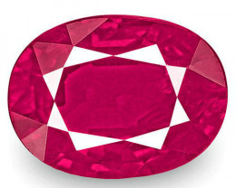 IGI Certified Burma Ruby, 1.15 Carats, Rich Intense Pinkish Red Oval