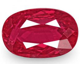 IGI Certified Burma Ruby, 0.97 Carats, Rich Neon Pinkish Red Oval