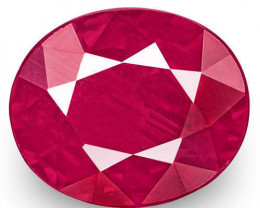 IGI Certified Burma Ruby, 1.02 Carats, Rich Pinkish Red Oval
