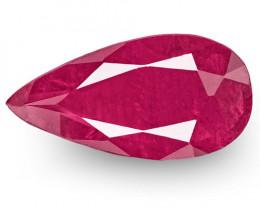 IGI Certified Tajikistan Ruby, 2.79 Carats, Deep Pinkish Red Pear