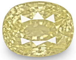 GIA Certified Sri Lanka Yellow Sapphire, 6.05 Carats, Light Yellow Cushion
