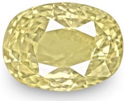 GIA Certified Sri Lanka Yellow Sapphire, 5.24 Carats, Light Yellow Oval