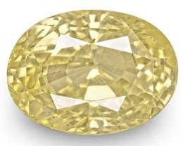 GIA Certified Sri Lanka Yellow Sapphire, 6.45 Carats, Lustrous Soft Yellow