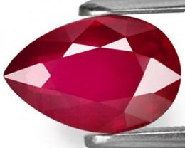Mozambique Ruby, 2.13 Carats, Deep Pinkish Red Pear
