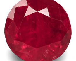 GRS Certified Tajikistan Ruby, 3.12 Carats, Rich Velvety Pinkish Red Round