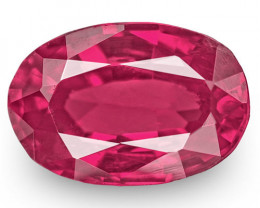 IGI Certified Tajikistan Ruby, 0.62 Carats, Rich Pinkish Red Oval