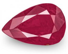 IGI Certified Tajikistan Ruby, 2.32 Carats, Deep Pinkish Red Pear