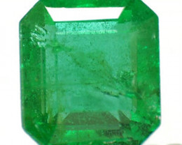 Zambia Emerald, 0.79 Carats, Dark Neon Green Emerald Cut