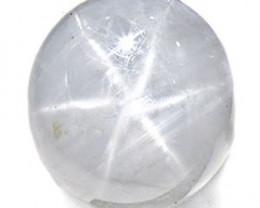 Burma Fancy Star Sapphire, 6.55 Carats, Pure White Oval