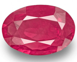 IGI Certified Afghanistan Ruby, 1.33 Carats, Velvety Pinkish Red Oval
