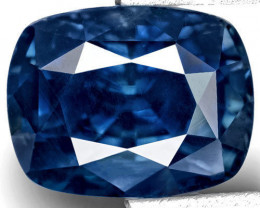 IGI Certified Kashmir Blue Sapphire, 5.07 Carats, Dark Royal Blue Cushion