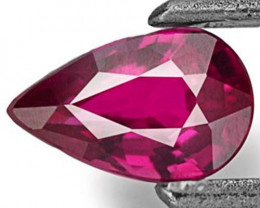 Mozambique Ruby, 0.41 Carats, Deep Purple Red Pear