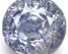 GIA Certified Kashmir Blue Sapphire, 0.87 Carats, Very Light Blue Round