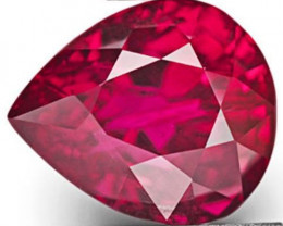 GRS Certified Mozambique Ruby, 2.18 Carats, Fiery Purplish Red Pear