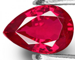 Mozambique Ruby, 0.91 Carats, Vivid Intense Pinkish Red Pear