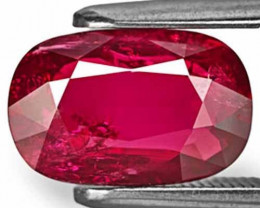 Mozambique Ruby, 2.38 Carats, Intense Red Cushion