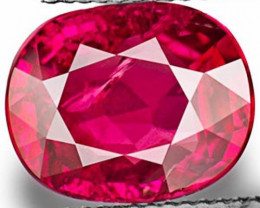 IGI & AIGS Certified Mozambique Ruby, 3.02 Carats, Lustrous Pinkish Red