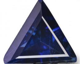 IGI Certified Madagascar Blue Sapphire, 0.41 Carats, Dark Blue Trilliant