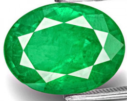 GII Certified Zambia Emerald, 6.12 Carats, Lively Royal Green Oval