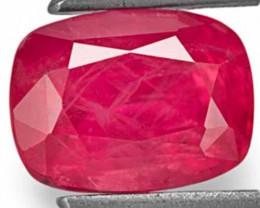 IGI Certified Vietnam Ruby, 1.80 Carats, Orangy Red Cushion
