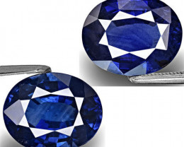 GRS Certified Madagascar Blue Sapphires, 9.31 Carats, Deep Royal Blue Oval