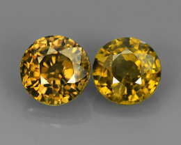 3.15 CTS EXTREME ROUND NATURAL RARE COLOR  ZIRCON PAIR
