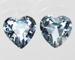 1.35cts Natural Aquamarine Matching Heart Shape