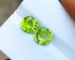 3.10 Ct Natural Greenish Transparent Peridot Gems Pairs