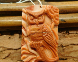 Natural carved agate owl pendant animal craft (G1052)