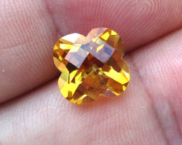 4.01cts Golden Yellow Citrine Flower Checker Board Cut