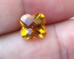 3.07cts Golden Yellow Citrine Flower Checker Board Shape