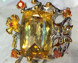 'Majestic Grove' Magnificent Citrine Sapphire Ruby Ring Size 8