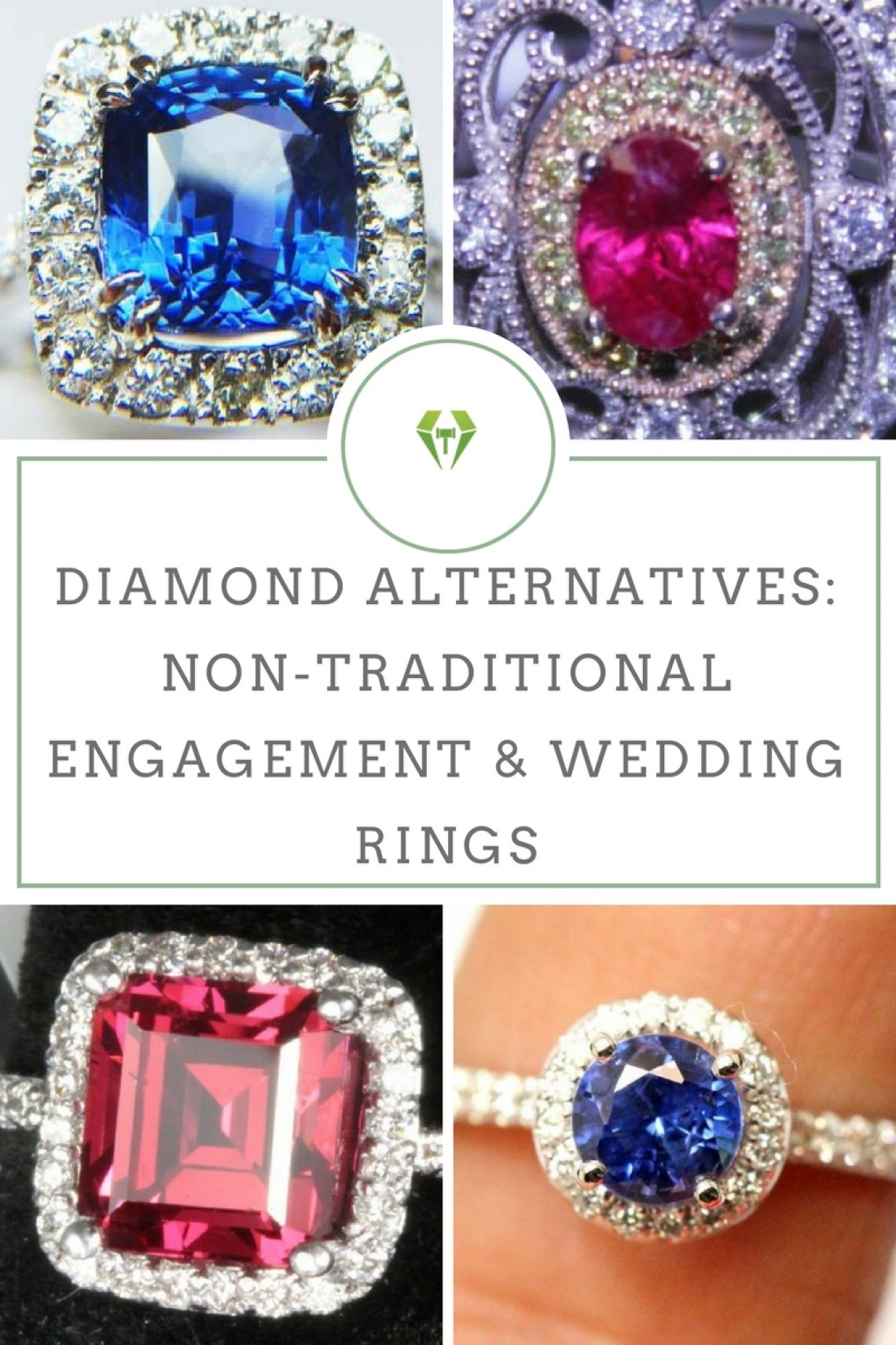 Diamond Alternatives Non-Traditional Engagement  Wedding Rings