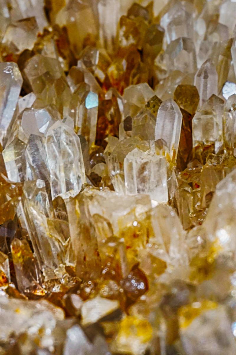 Raw rutilated quartz crystals