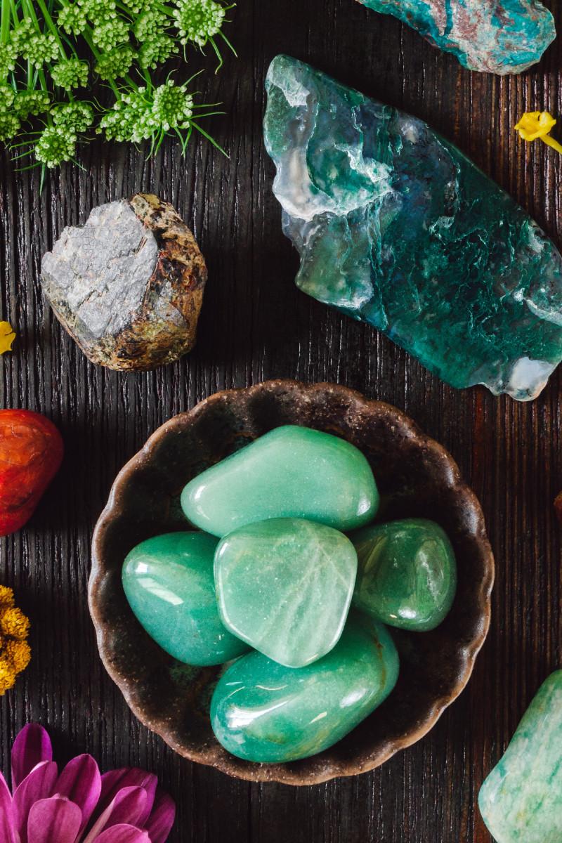 Tumbled chrysocolla gemstones